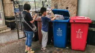 People in Shanghai must divide their rubbish into four types, or risk heavy fines