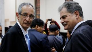 Former Guatemalan President Alvaro Colom (R) and his Former Finance Minister and Chairman of Oxfam International Juan Alberto Fuentes