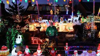 Eric Marshall and his Christmas light display