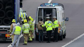 A main is detained after being found in a lorry on the M20 in Ashford in 2014