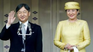 Japan's Emperor Naruhito and Empress Masako greet well-wishers during their first public appearance at the Imperial Palace in Tokyo on May 4, 2019.