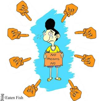 "Cartoon by Ali Dorani showing his character, surrounded by middle fingers pointing at him, as he holds the sign ""no means no"""