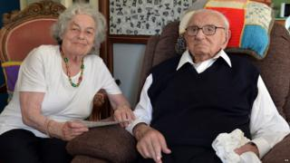 Sir Nicholas Winton poses with Vera Schaufeld one of the children he saved, at his home in Maidenhead