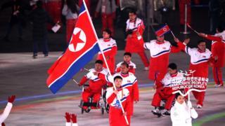 9일 오후 강원도 평창군 평창올림픽스타디움에서 열린 '2018 평창 동계 패럴림픽 개회식'에서 북한 선수단이 입장하고 있다
