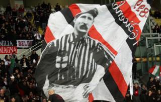 Herbert Kilpin on a banner