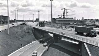 M8 Townhead Interchange - view east from Baird Street (early 1970s)
