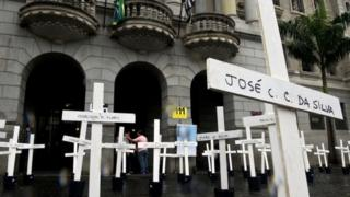 Crosses are seen in front of the School of Law of the University of Sao Paulo (USP) in April 2013 in homage to the inmates dead at the Carandiru Penitentiary massacre in Sao Paulo, Brazil