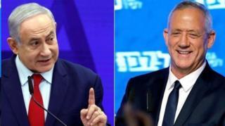 بنی گانتس از حزب آبی و سفید و بنیامین نتانیاهو از حزب لیکود