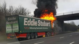 Eddie Stobart lorry on fire