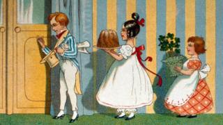 1908 illustration of children celebrating Mother's Day.