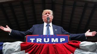 Donald Trump speaks at a rally in North Carolina.