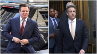 Hai cựu phụ tá của ông Trump, Paul Manafort (trái) và Michael Cohen vừa bị kết tội