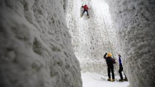 Climbers at Ice Factor