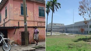 Comparação entre as embaixadas amricanas falsa e verdadeira em Gana