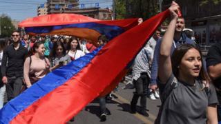 Демонстранты в Ереване