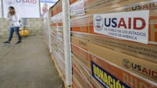 View of humanitarian aid for Venezuela inside a warehouse at the Tienditas International Bridge in Cucuta, Colombia, on the border with Venezuela, on February 19, 2019.