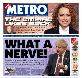 Metro front page - 19/03/18