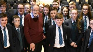 Dr Martin Stern and St Patrick's and St Brigid's College pupils