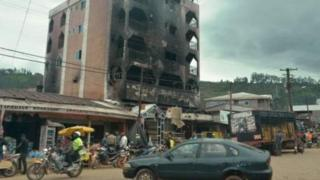 A burnt out building in the Anglophone regions of Cameroon