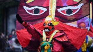 "Performers during the New Year""s Day Parade in London"