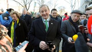 Enda Kenny speaking to journalists in New York