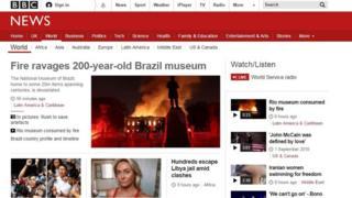 Capa do site da BBC News com destaque para o incêndio