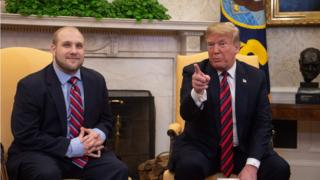 US President Donald Trump with Joshua Holt in the White House. 26 May 2018