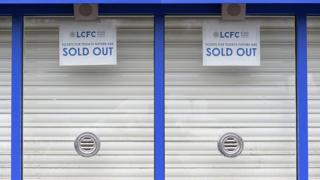 Shutters down on the windows at Leicester City's ticket office