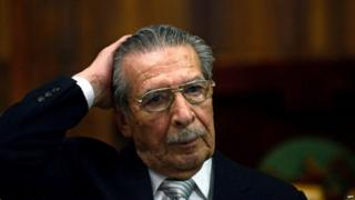 Former Guatemalan de facto President (1982-1983), retired General Jose Efrain Rios Montt, gestures during his trial on charges of genocide during his regime, in Guatemala City on April 30, 2013