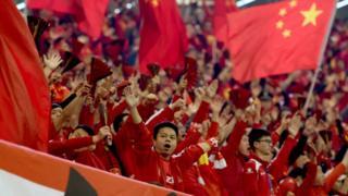 賀龍體育中心的中國球迷