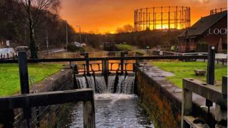 This is a photo of Lock 27 on the Canal which runs through Anniesland, Glasgow at sunrise.