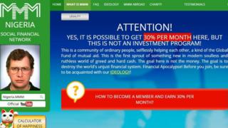 Screen grab of a MMM website announcing investment profits.
