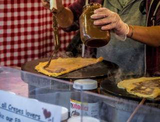 Crepes with chocolate spread and marshmallows at the Christmas Market in St Enoch's Square
