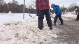 Clearing snow in Bearsden