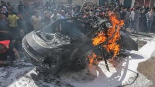 Hamas komutanı Hamid Ahmed Abed Kudri'nin vurulan aracı