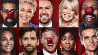 Celebrities wearing red noses for Comic Relief