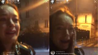 Screen grab from Lindsay Lohan's Instagram live video