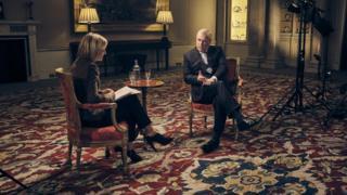 BBC 뉴스나이트에 출연한 앤드류 왕자