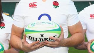 Rugby ball with Old Mutual logo