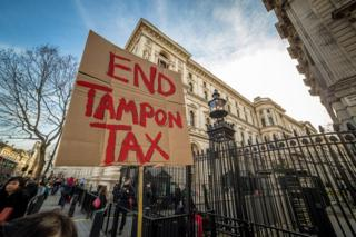 April, 2015. End Tampon Tax Protest outside Downing Stree