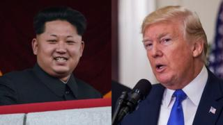Portraits of Kim Jong-un and Donald Trump