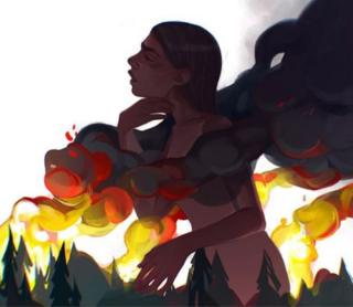 A drawing of a woman in a fire with trees burning in the background. Vivid yellow, red plumes emerge
