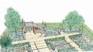 A sketch design of the garden at 2016 Chelsea Flower Show