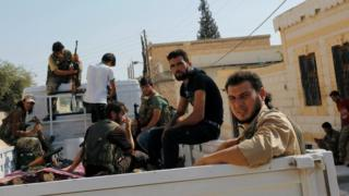 Turkish-backed Syrian rebel fighters in Jarablus on 31 August 2016