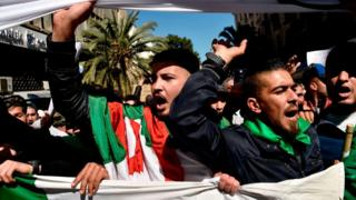 Protesters march through the streets of Algiers