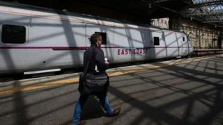 Man on platform in front of East Coast train