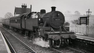 Locomotive at Rudyard Lake late 1950s