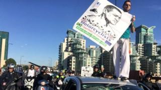 protesto contra morte de motoboy brasileiro em Londres