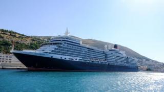 Cunard's Queen Elizabeth cruise ship in Dubrovnik in Croatia.