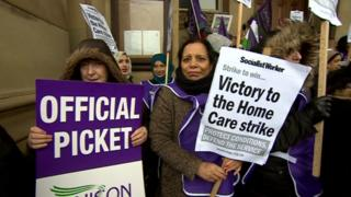Care home workers at the strike